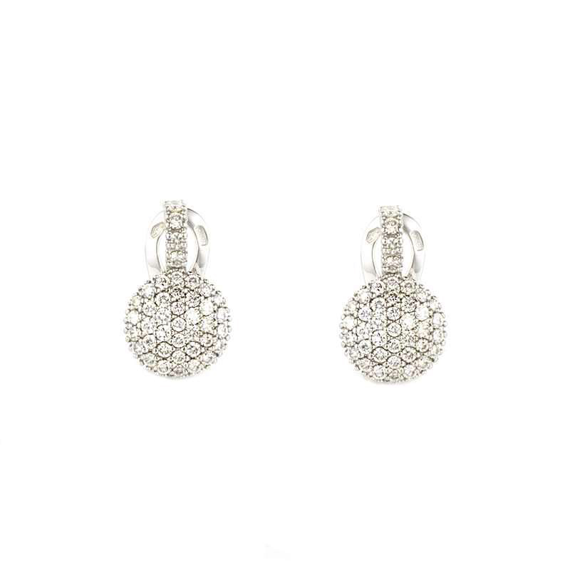 18k White Gold Pave Diamond Earrings 1.09ct G/VS